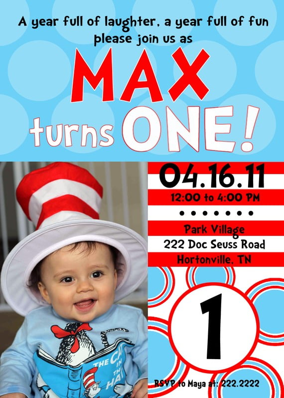 Cute Dr Seuss \u2013 FREE Printable Birthday Invitation Templates \u2013 Bagvania