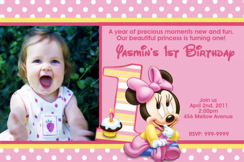Minnie Mouse First Birthday Invitations Anarchistshemale