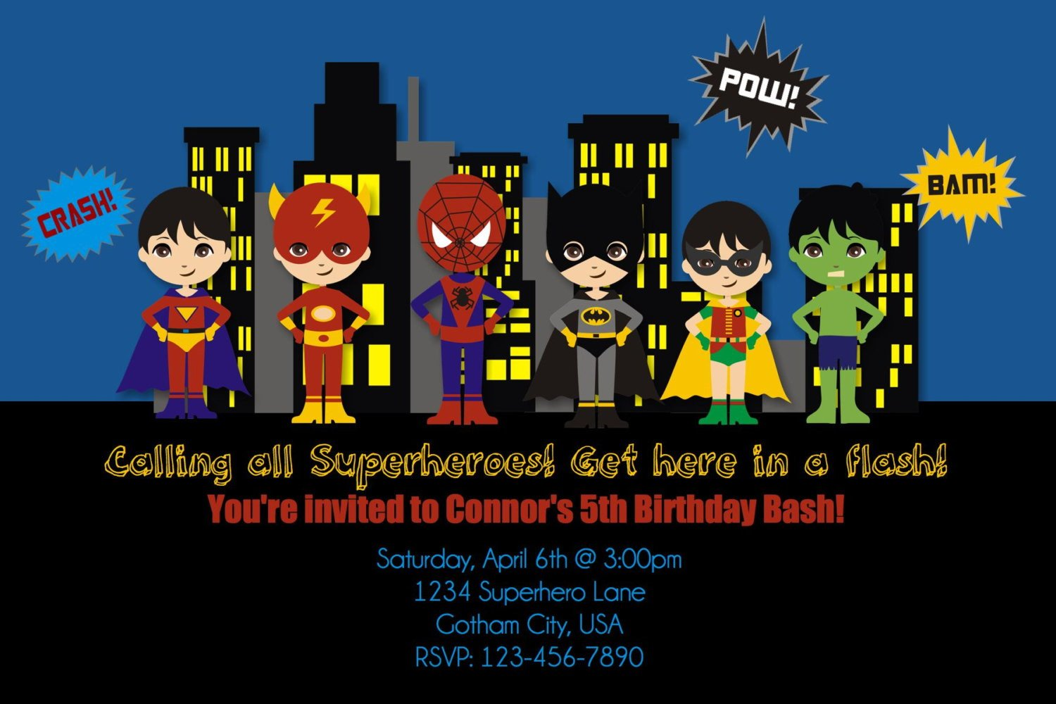 superhero birthday party invites