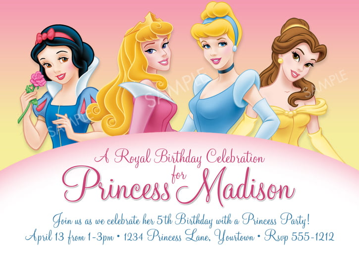 Cute Disney Princess \u2013 FREE Printable Birthday Invitation Templates