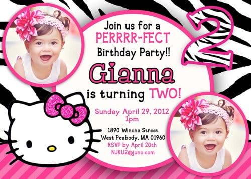 Hello Kitty for 2nd birthday invitations \u2013 FREE Printable Birthday