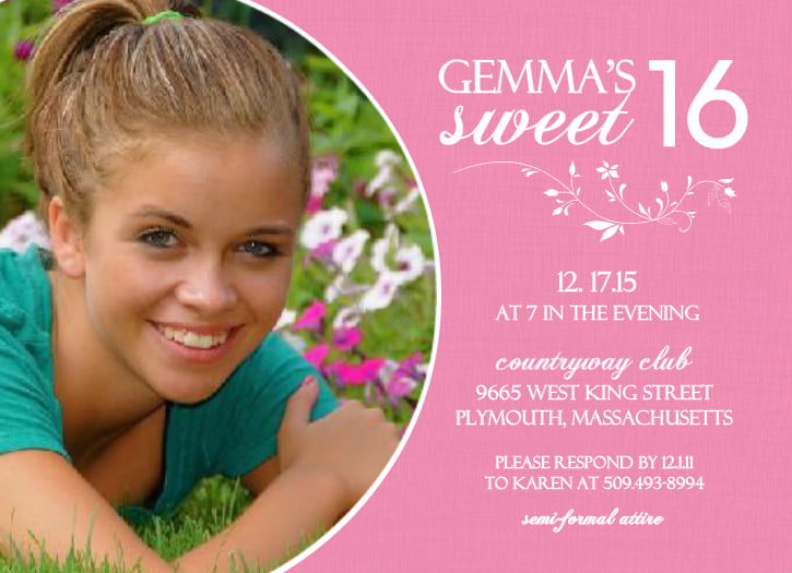 Pink Sweet 16 \u2013 FREE Printable Birthday Invitation Templates \u2013 Bagvania