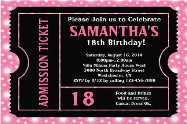 VIP Pass 18th Birthday Invitation Ideas u2013 Bagvania FREE Printable - free 18th birthday invitation templates