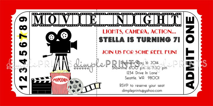 Movie Ticket Birthday Invitations Ideas \u2013 Bagvania FREE Printable