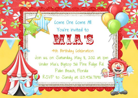 free circus birthday invitations printables