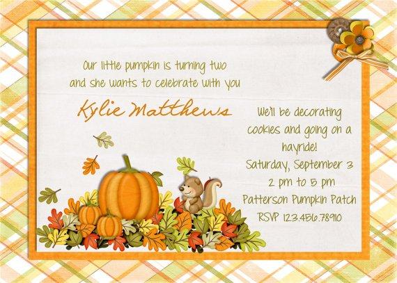 Pumpkin Birthday Invitations Ideas Free Printable