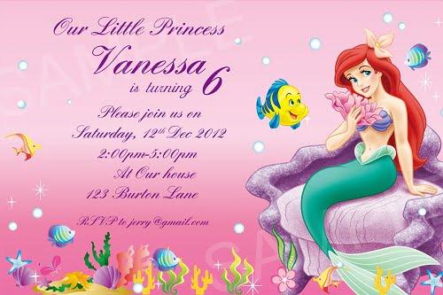 Disney Princess ariel birthday invitations \u2013 FREE Printable Birthday