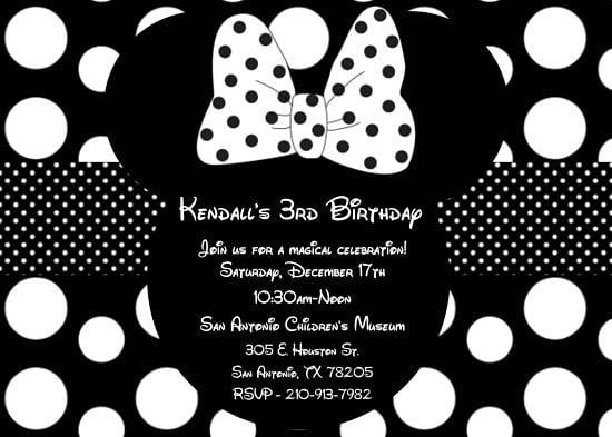 Girls Minnie Mouse black and white birthday invitations \u2013 FREE