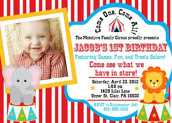 circus birthday party invitations with photo \u2013 Bagvania FREE - Circus Party Invitation