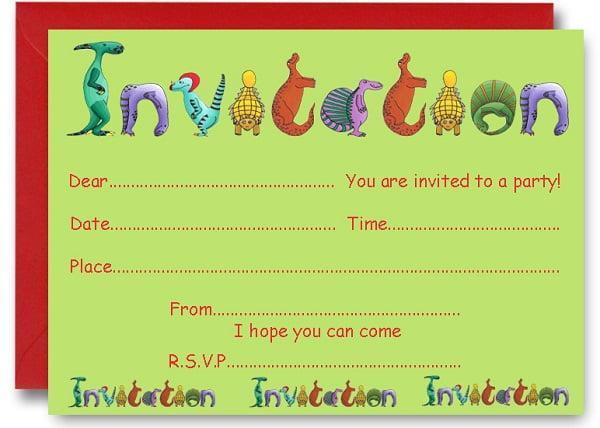 dinosaur birthday party invitations printable - Klise