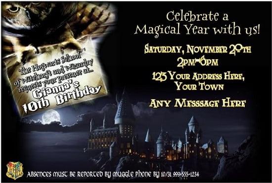 Harry Potter Birthday Invitations Ideas Free Printable