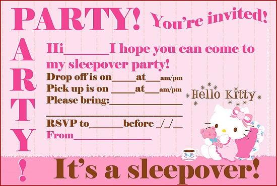 hello kitty birthday party invitations template \u2013 FREE Printable