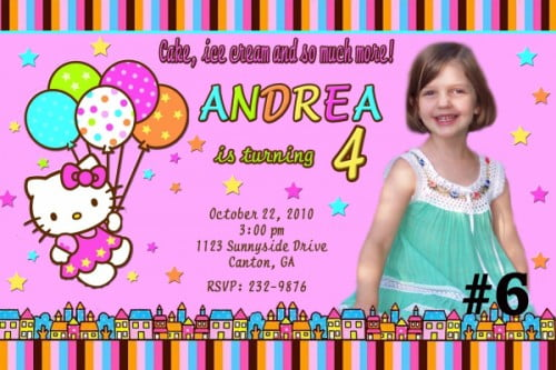 hello kitty custom photo birthday party invitations \u2013 FREE Printable