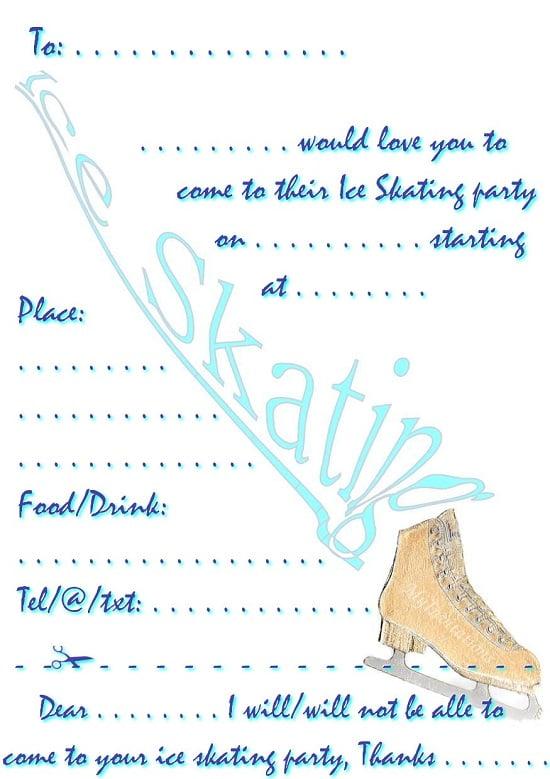 Ice Skating Birthday Invitations Ideas \u2013 Bagvania FREE Printable