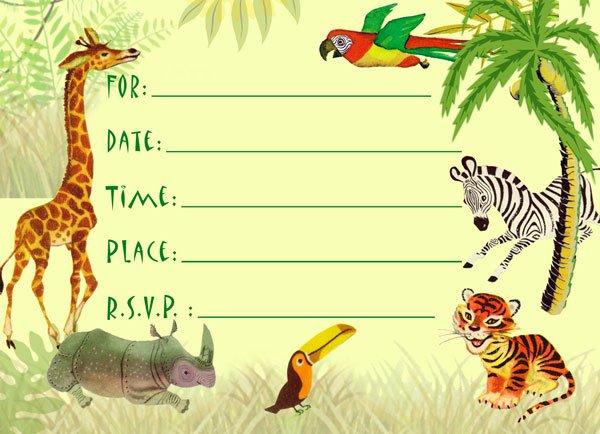 Jungle Animal Birthday Invitations Free Printable