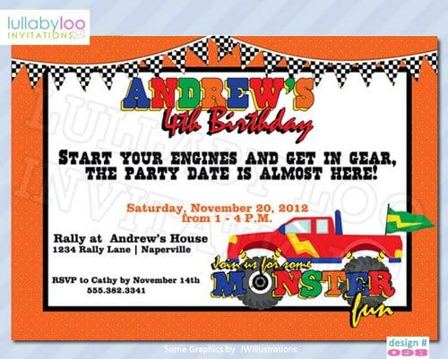 monster truck birthday invitations for boys \u2013 FREE Printable
