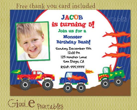 monster truck photo birthday invitations \u2013 FREE Printable Birthday