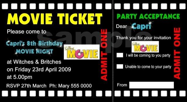 Movie Ticket Birthday Invitations Ideas \u2013 Bagvania FREE Printable - free printable movie ticket invitations