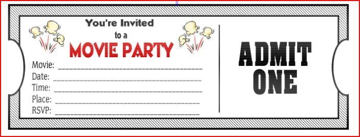 Movie Ticket Invitations Template u2013 orderecigsjuiceinfo - printable ticket invitations