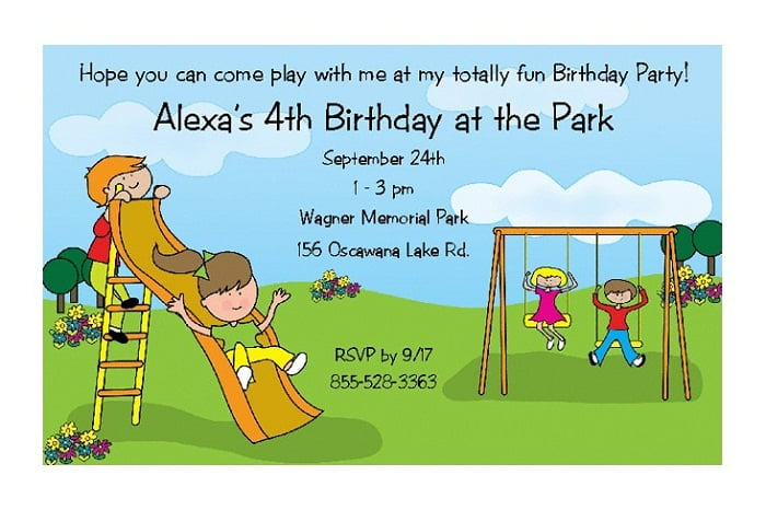 playground birthday invitations ideas for kids \u2013 FREE Printable