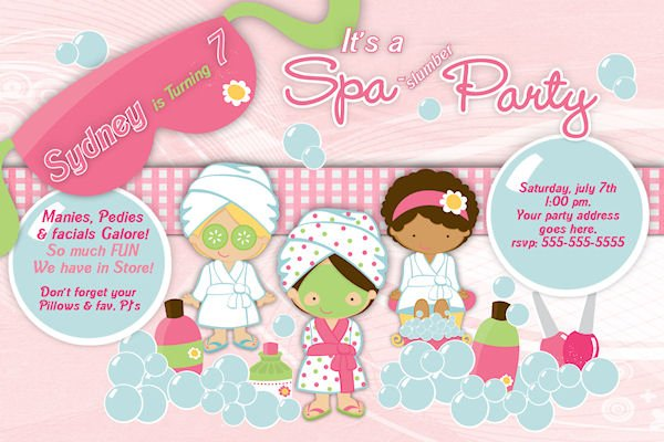 spa birthday party custom invitations \u2013 Bagvania FREE Printable