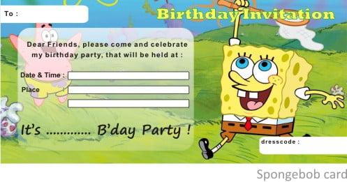 spongebob birthday invitations free printable \u2013 Bagvania FREE