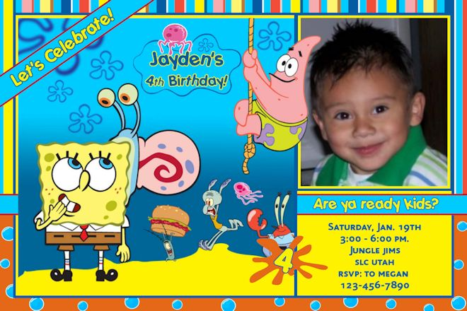 spongebob birthday invitations templates \u2013 FREE Printable Birthday