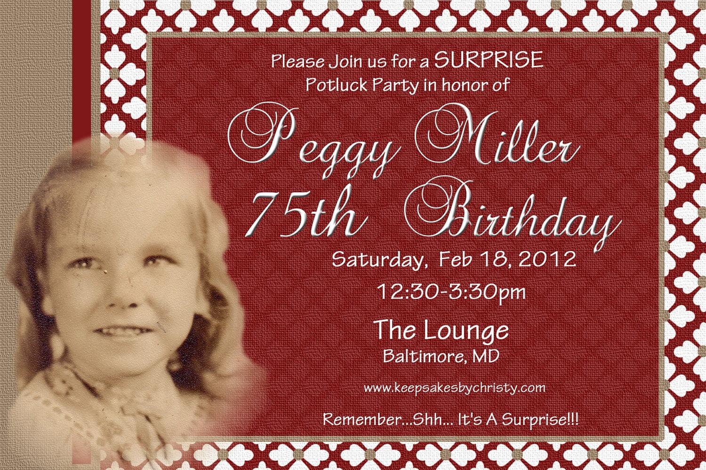 75th Birthday Invitations Ideas Free Printable Birthday