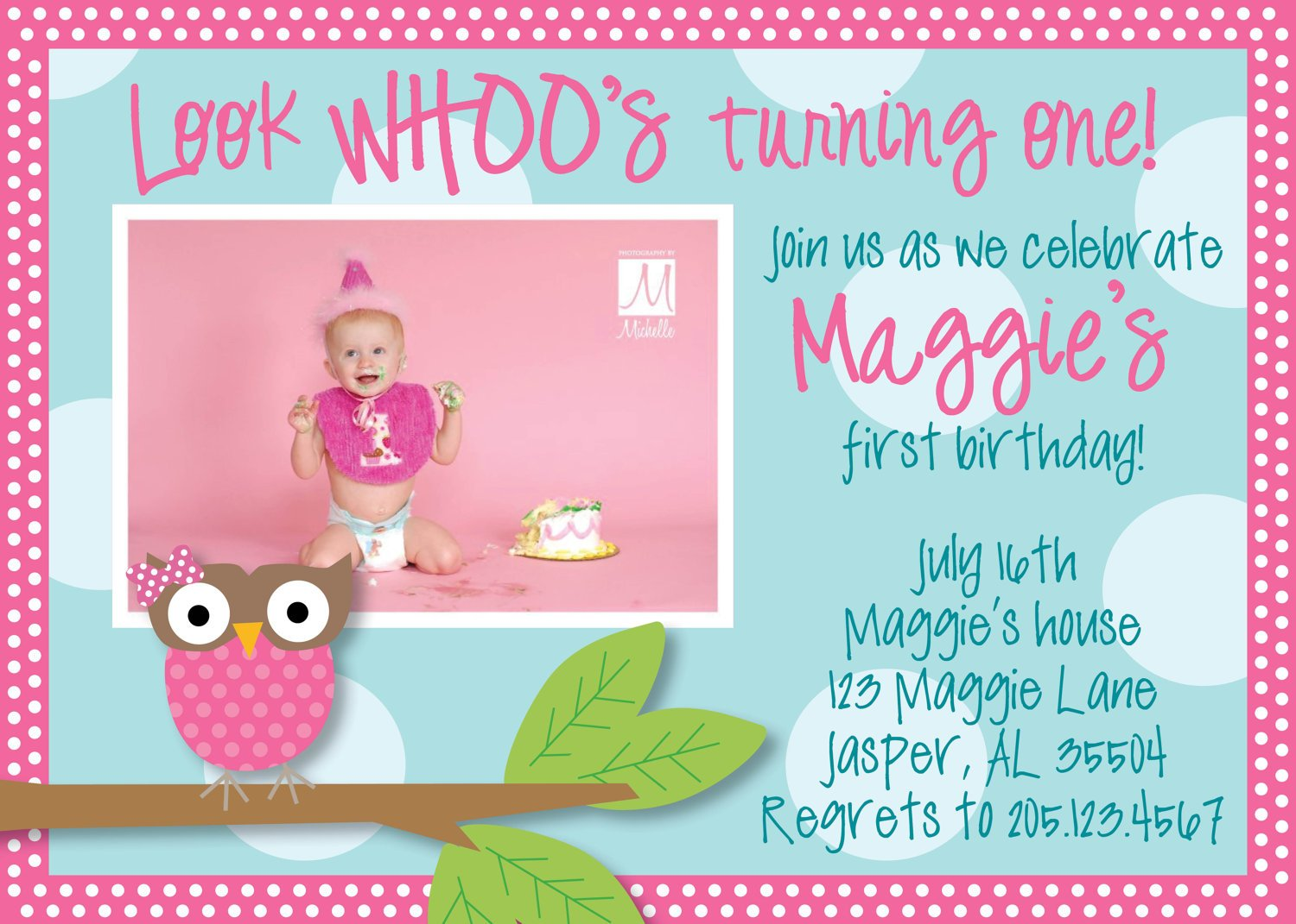 Owl 1st Birthday Invitations Ideas Free Printable