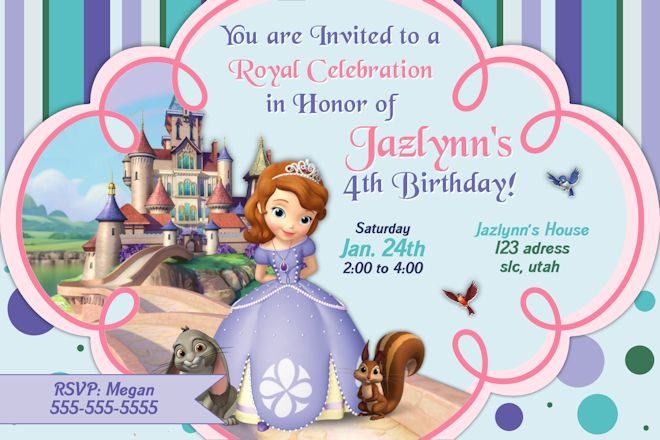 Princess Sofia Birthday Invitations Ideas \u2013 FREE Printable Birthday