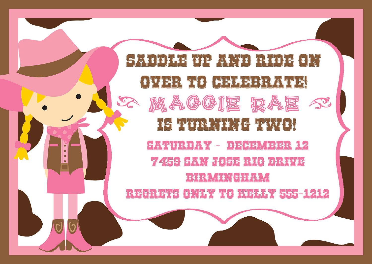 Cowgirl Birthday Party Invitations Free Printable