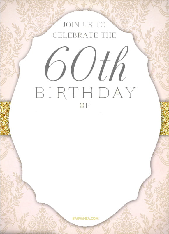 FREE Printable 60th Birthday Invitation Templates \u2013 GOLDEN