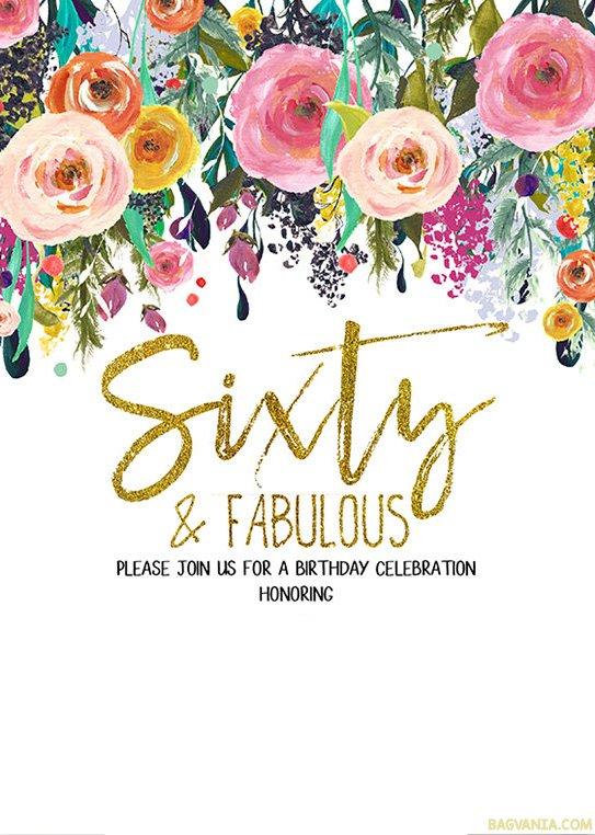 FREE-Printable-Flower-60th-Birthday-Invitation-Template \u2013 Bagvania - free invitation templates