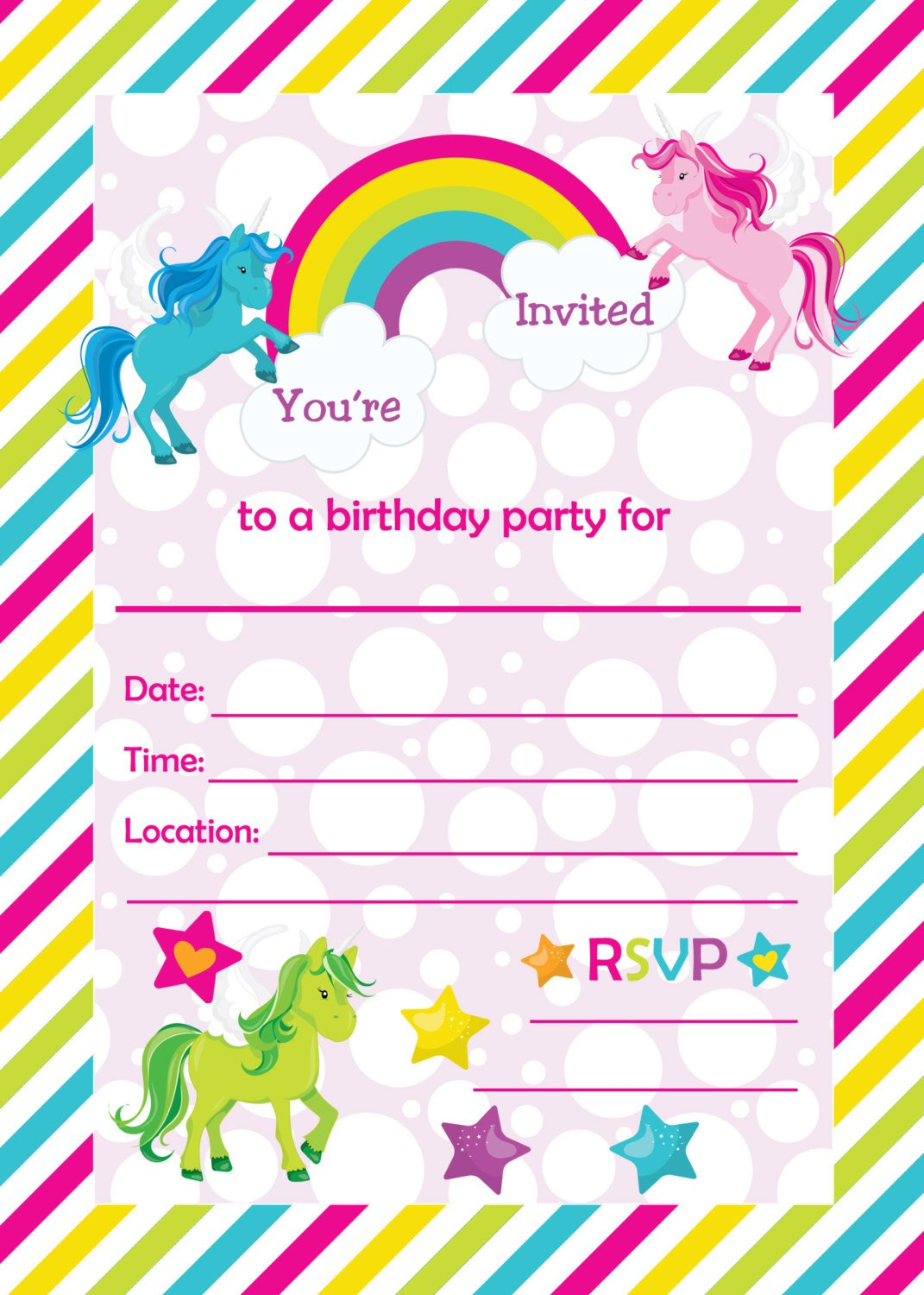 Free Rainbow Birthday Invitations Free Printable
