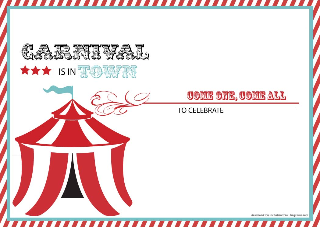 carnival party invitation templates free - Eczasolinf - free carnival sign template