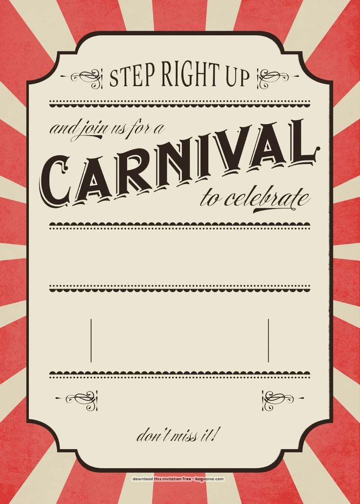 Free Carnival Birthday Invitations Free Printable