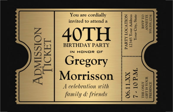 Golden-Ticket-Style-40th-Birthday-Party-Invitation \u2013 FREE Printable