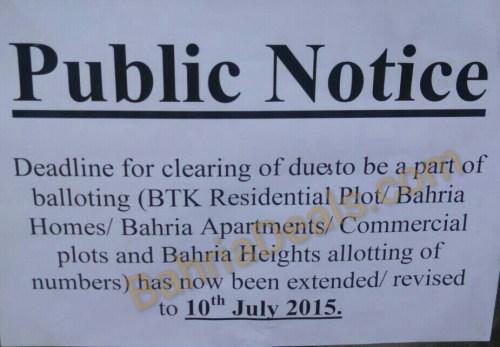 Bahria Town Karachi balloting date