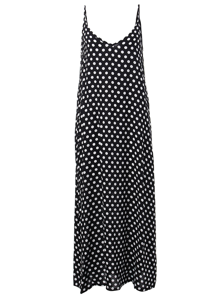 Sleeveless Polka Dot Maxi Dress