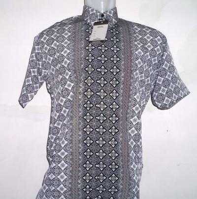 Baju Batik Batik Lengan Pendek Corak Bintang Keabu Abuan Batik