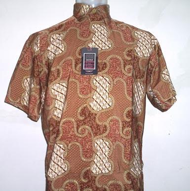 Baju Batik Baju Lengan Pendek Motif Abstrak Ukuran Besar Cokelat