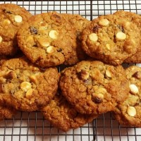 Macadamia, Cranberry & White Chocolate ANZAC Cookies