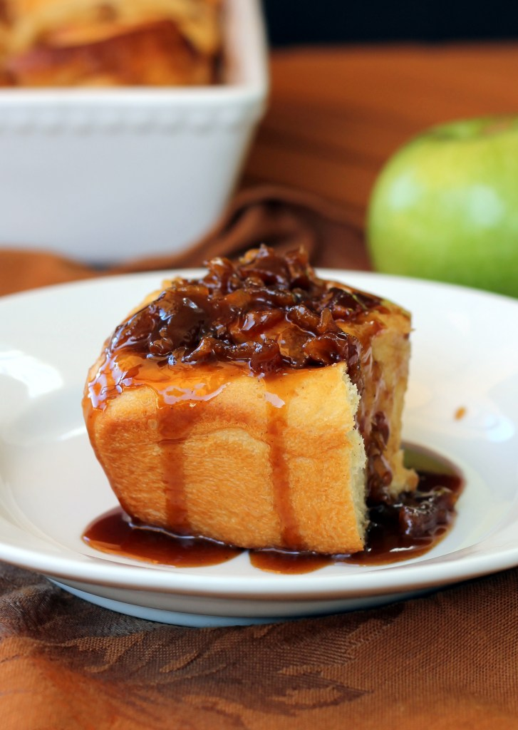 These Caramel Apple Cinnamon Rolls have a cinnamon-sugar apple filling and a caramel apple topping! These are the perfect decadent fall breakfast.