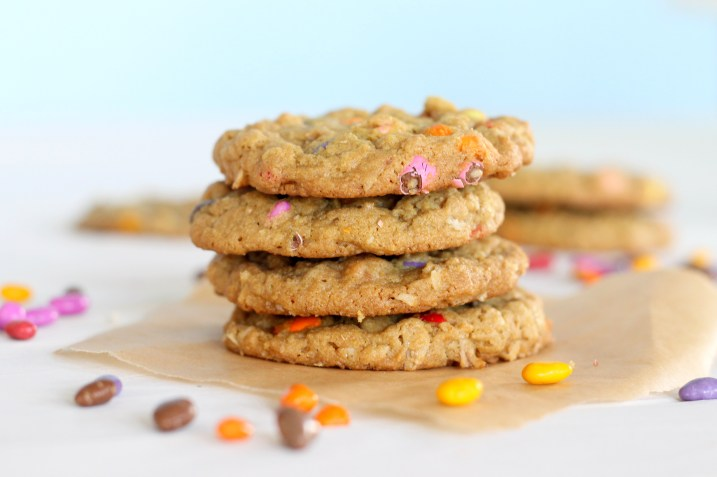 These colorful Sunbutter Oatmeal Cookies are made with sunflower seed butter! They're a great nut-free alternative to peanut butter cookies.