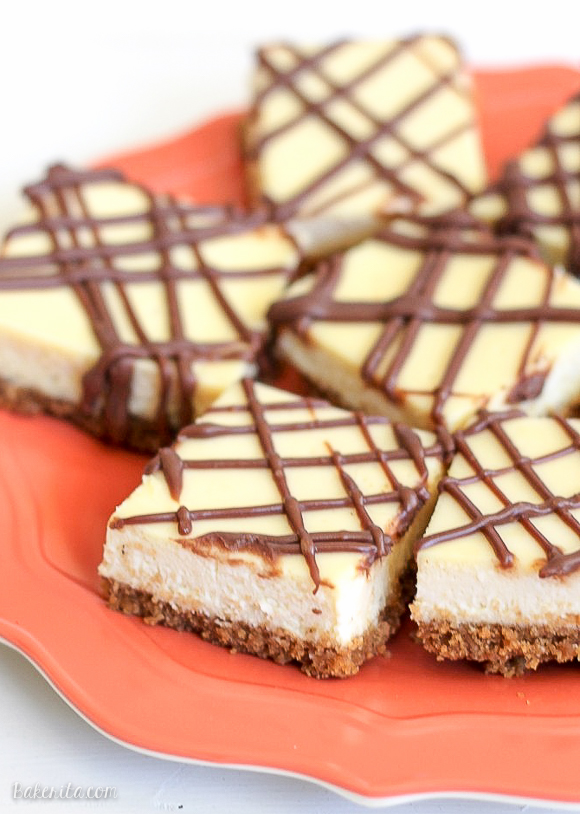 This easy recipe for Cheesecake Bars makes a simple dessert bar that is super creamy, so delicious, and is way easier than making a whole cheesecake!