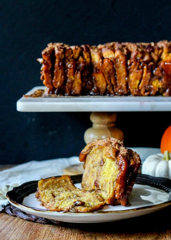 This Pumpkin Pecan Cinnamon Sugar Pull Apart Bread makes baking with yeast a breeze, and will satisfy all of your sticky, sweet cravings!