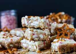 Peppermint White Chocolate Pretzel Bars