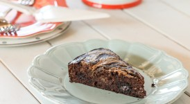 Banana Cocoa Cake with Almond Butter Swirl (Paleo)