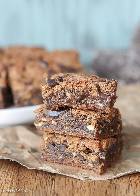 No one would guess that these Paleo Chocolate Chip Blondies are actually healthy! They're gluten free, refined sugar free, and come together in a few minutes.