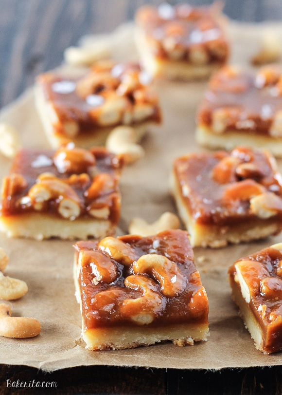 Cashew Caramel Shortbread Bars have a buttery shortbread layer topped ...